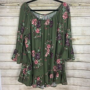 Tops - Terra Sky Green Floral On Or Off The Shoulder Top